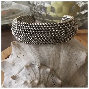 Vintage Mexico Sterling Woven Thick Cuff Bracelet